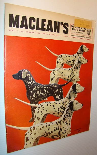 Image for Maclean's Magazine, April 1, 1953 - Dalmations on Cover / Joseph Howe