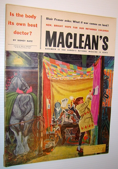 Image for Maclean's - Canada's National Magazine, November 22, 1958 - Royal Winter Fair Cover Illustration and Article