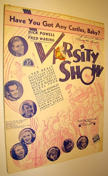 "Image for Have You Got Any Castles, Baby? - Sheet Music for Voice and Piano with Guitar Chords for the Song from the Movie ""Varsity Show"""